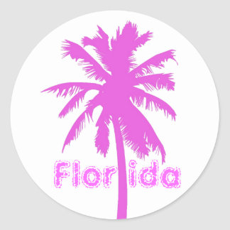Florida, Pink Plam Tree Classic Round Sticker