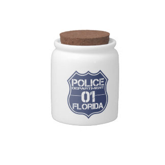 Florida Police Department Shield 01 Candy Jar