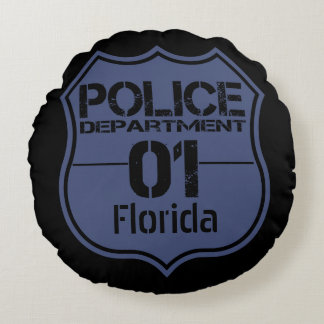 Florida Police Department Shield 01 Round Pillow
