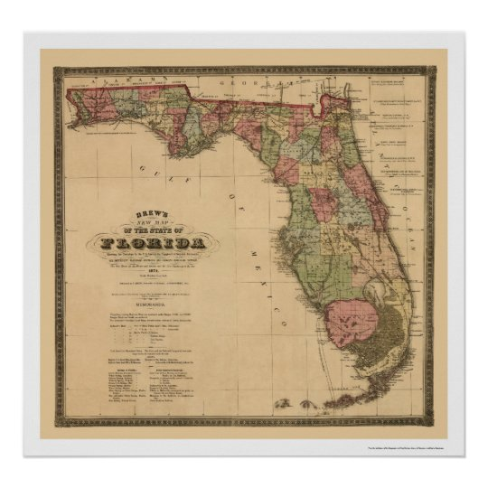 Florida Railroad Map.Florida Railroad Map 1874 Poster Zazzle Com