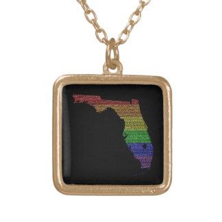 Florida Rainbow Pride Flag Mosaic Square Pendant Necklace