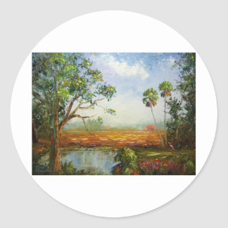 Florida Ranch Painting Classic Round Sticker