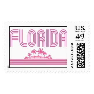 Florida Retro Neon Palm Trees Pink Postage