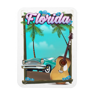 Florida Retro style travel poster Magnet