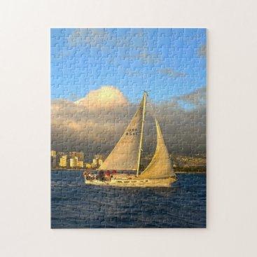 USA Themed Florida Sail Boat. Jigsaw Puzzle