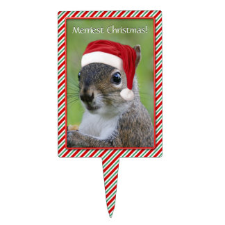 Florida Santa Squirrel™ Says Merriest Christmas Cake Topper