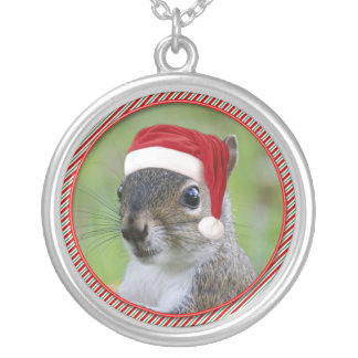 Florida Santa Squirrel™ Wearing Santa Hat Silver Plated Necklace