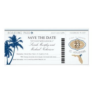 Florida Save the Date Boarding Pass Card