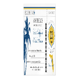 Florida Save the Date Boarding Pass Magnetic Card