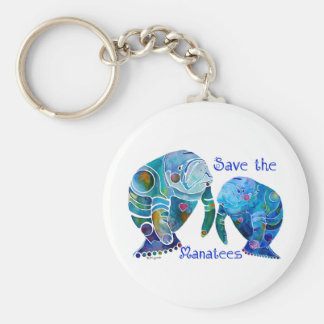 Florida Save the Manatees in Vivid Blues Basic Round Button Keychain