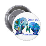 Florida Save the Manatees in Vivid Blues Pinback Button