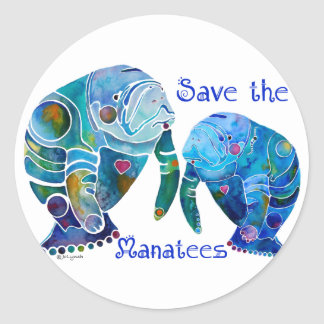 Florida Save the Manatees in Vivid Blues Classic Round Sticker