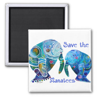 Florida Save the Manatees in Vivid Blues Refrigerator Magnet