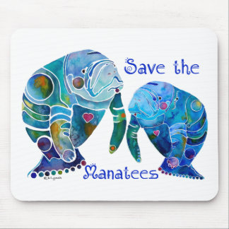 Florida Save the Manatees in Vivid Blues Mouse Pad