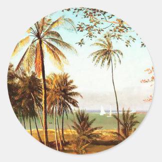 Florida Scene by Albert Bierstadt Classic Round Sticker