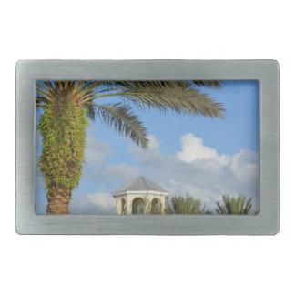 Florida scene palm tree spire blue sky belt buckle