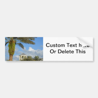 Florida scene palm tree spire blue sky bumper sticker