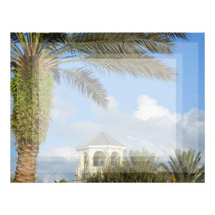 Florida scene palm tree spire blue sky personalized letterhead