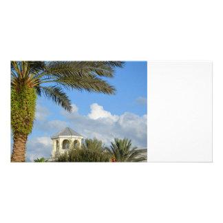 Florida scene palm tree spire blue sky photo card