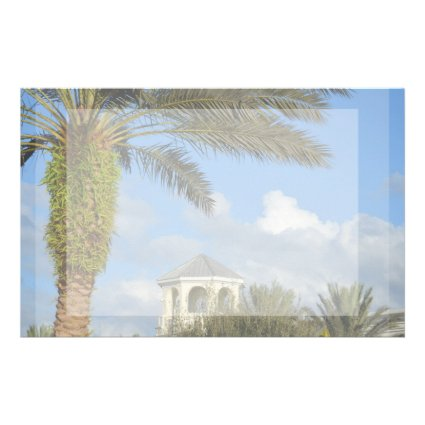 Florida scene palm tree spire blue sky personalized stationery