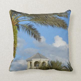 Florida scene palm tree spire blue sky throw pillow