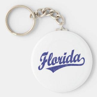 Florida script logo in blue keychain