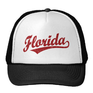 Florida script logo in red mesh hats