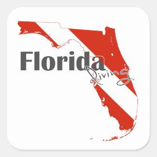 Florida scuba diving flag square sticker