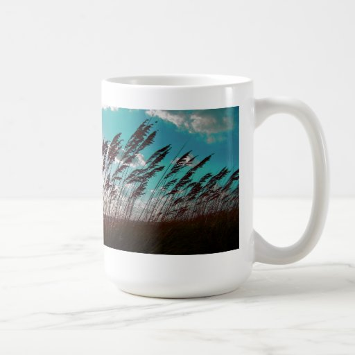 Florida seaoats against teal sky dune backdrop mug