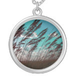 Florida seaoats against teal sky dune backdrop necklace