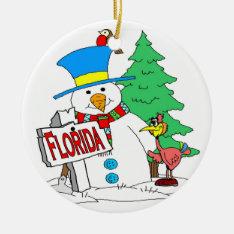 Florida Snowman Ceramic Ornament at Zazzle