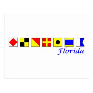 Florida spelled in alphabetical flag alphabet post cards