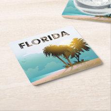 Florida Square Paper Coaster