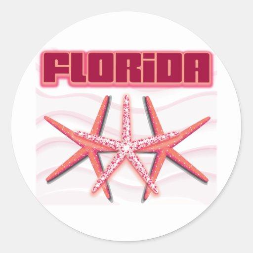 Florida Starfish Round Stickers