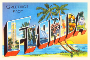 Florida State 2 FL Old Vintage Travel Souvenir Shower Curtain