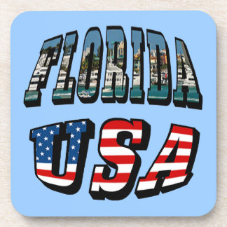 Florida State and USA Flag Text Beverage Coaster