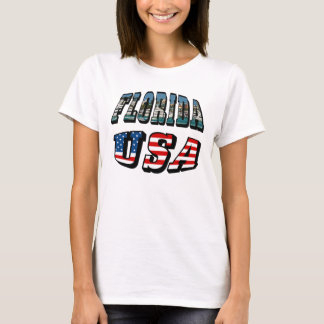Florida State and USA Flag Text T-Shirt