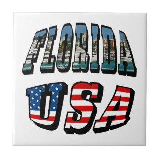 Florida State and USA Flag Text Tile