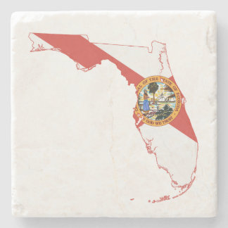 Florida State Flag and Map Stone Beverage Coaster