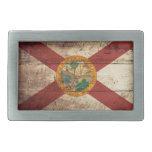 Florida State Flag on Old Wood Grain Rectangular Belt Buckle