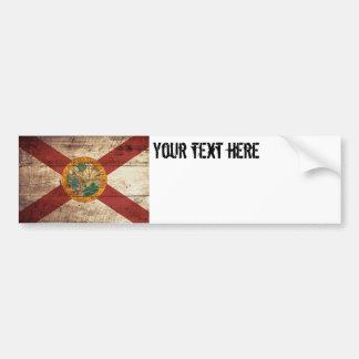 Florida State Flag on Old Wood Grain Bumper Sticker