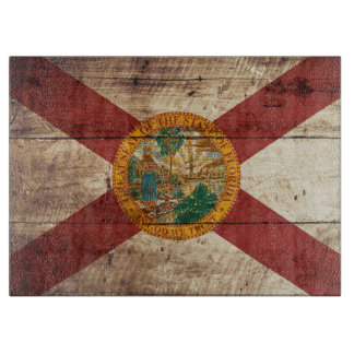 Florida State Flag on Old Wood Grain Cutting Board