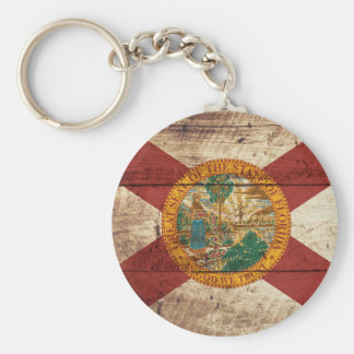 Florida State Flag on Old Wood Grain Keychain