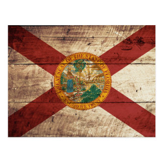 Florida State Flag on Old Wood Grain Postcard