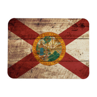 Florida State Flag on Old Wood Grain Rectangular Photo Magnet