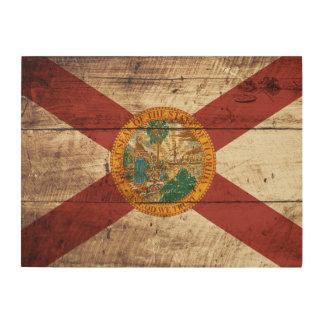 Florida State Flag on Old Wood Grain Wood Canvas