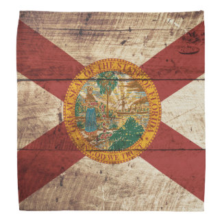 Florida State Flag on Old Wood Grain Bandana