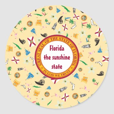 Beach Themed Florida state icons- sunshine state classic round sticker
