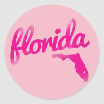 Florida state in pink classic round sticker