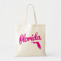 Florida state in pink tote bag